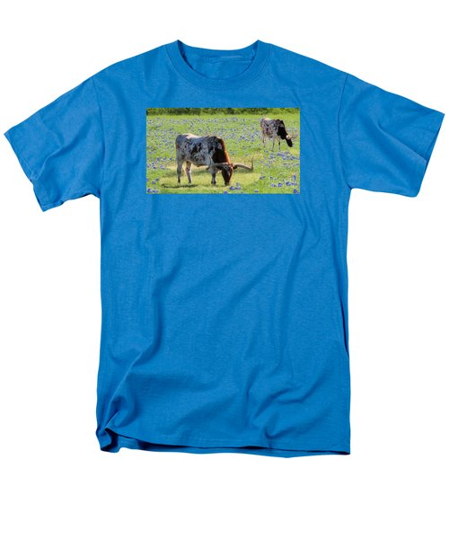 Longhorns In The Bluebonnets Men's T-Shirt  (Regular Fit) by Janette Boyd