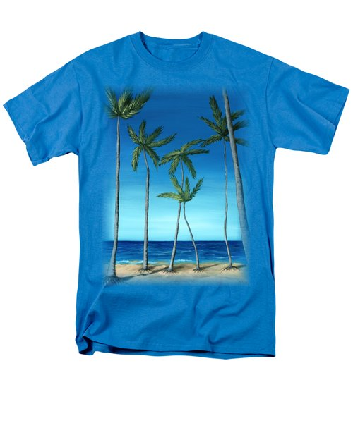 Men's T-Shirt  (Regular Fit) featuring the painting Palm Trees On Blue by Anastasiya Malakhova