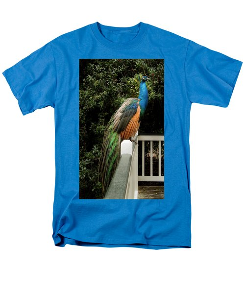 Men's T-Shirt  (Regular Fit) featuring the photograph Peacock On A Fence by Jean Noren
