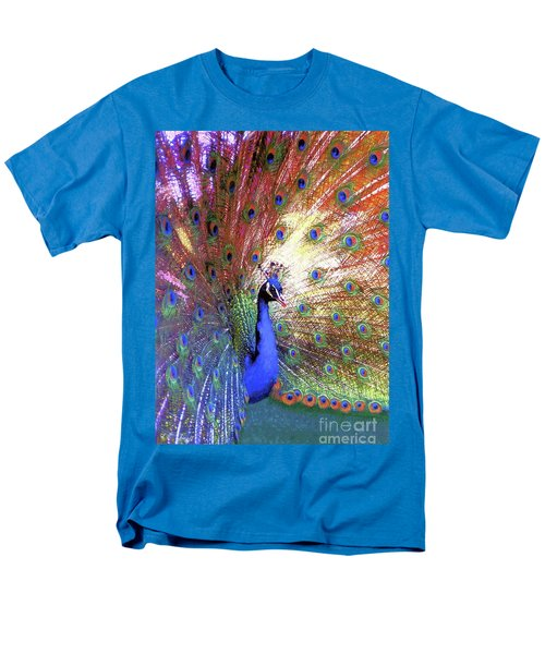 Men's T-Shirt  (Regular Fit) featuring the painting Peacock Wonder, Colorful Art by Jane Small