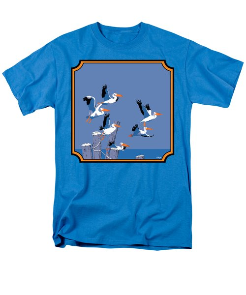 Pelicans In Flight Tropical Seascape - Abstract - Square Format Men's T-Shirt  (Regular Fit) by Walt Curlee