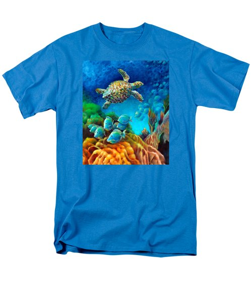 Sea Escape IIi - Gemstone Hawksbill Turtle Men's T-Shirt  (Regular Fit) by Nancy Tilles