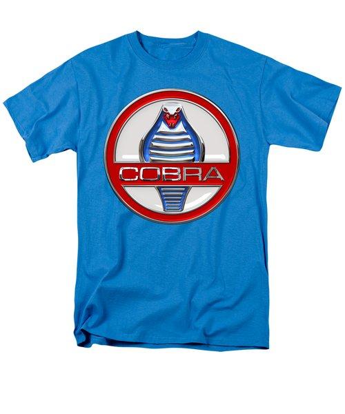 Shelby Ac Cobra - Original 3d Badge On Blue And White Men's T-Shirt  (Regular Fit) by Serge Averbukh