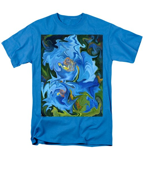 Swirled Blue Poppies Men's T-Shirt  (Regular Fit) by Renate Nadi Wesley
