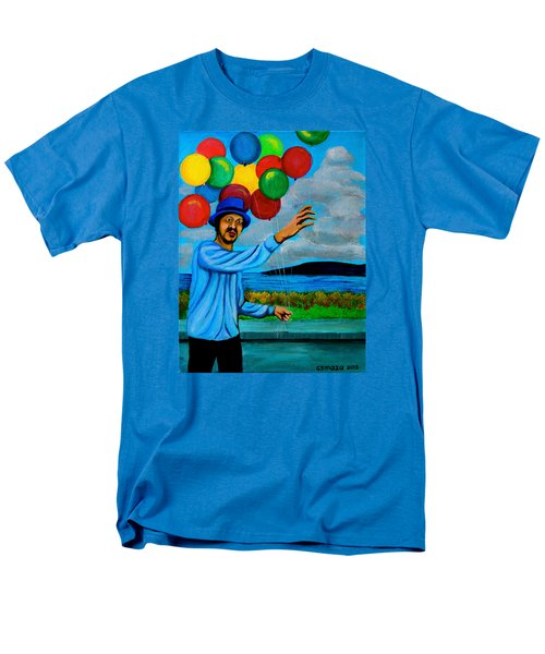 Men's T-Shirt  (Regular Fit) featuring the painting The Balloon Vendor by Cyril Maza