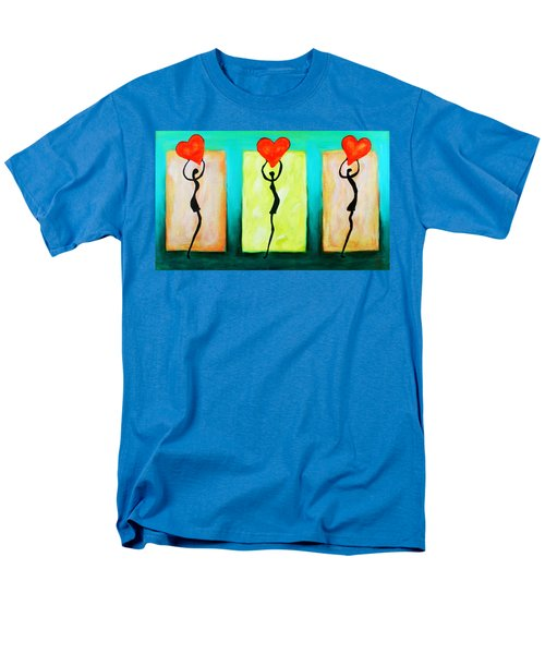 Three Abstract Figures With Hearts Men's T-Shirt  (Regular Fit) by Bob Baker
