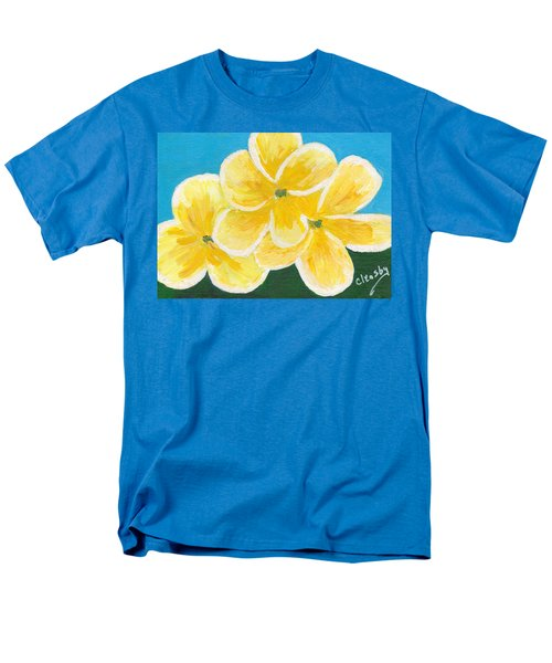 Three Flowers On Blue Men's T-Shirt  (Regular Fit) by Patricia Cleasby