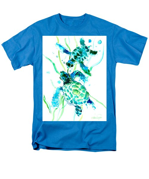 Turquoise Indigo Sea Turtles Men's T-Shirt  (Regular Fit) by Suren Nersisyan