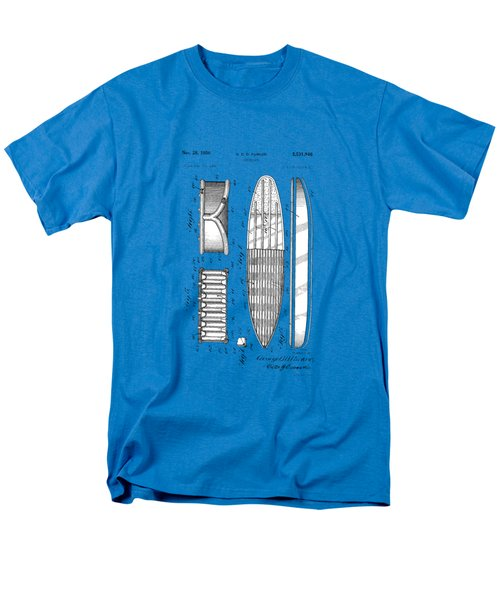 Men's T-Shirt  (Regular Fit) featuring the photograph Vintage Surf Board Patent Blue Print 1950 by Bill Cannon