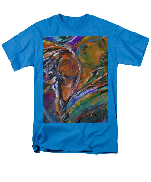 Men's T-Shirt  (Regular Fit) featuring the painting Violets And Ordchid by Dawn Fisher