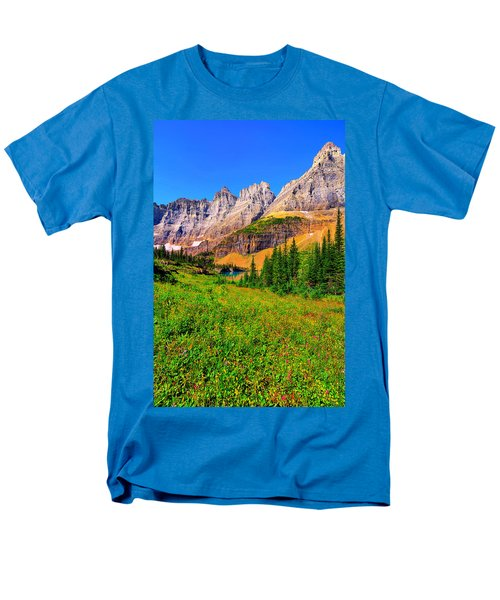 Men's T-Shirt  (Regular Fit) featuring the photograph Wildflower Meadow Beneath The Ptarmigan Wall by Greg Norrell