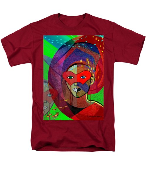 394 - Challenging Woman With Mask Men's T-Shirt  (Regular Fit) by Irmgard Schoendorf Welch