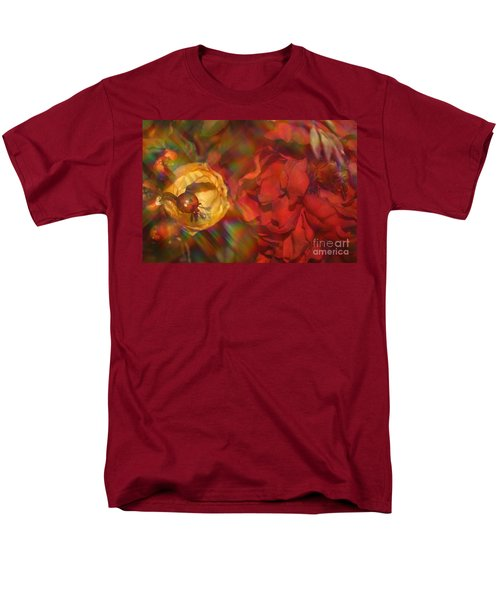 Men's T-Shirt  (Regular Fit) featuring the photograph  Impressionistic Bouquet Of Red Flowers by Dora Sofia Caputo Photographic Art and Design