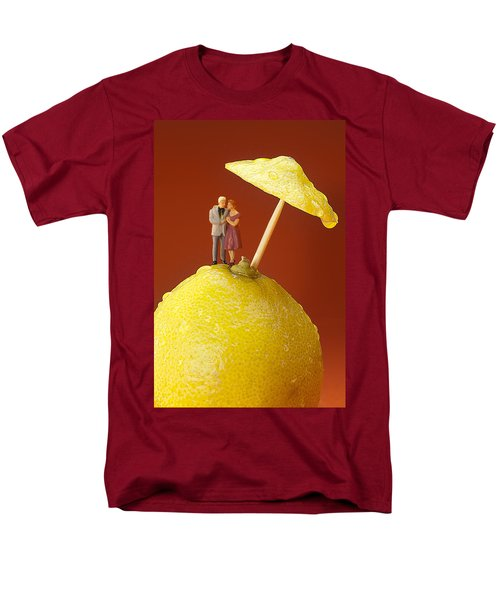 Men's T-Shirt  (Regular Fit) featuring the painting A Couple In Lemon Rain Little People On Food by Paul Ge