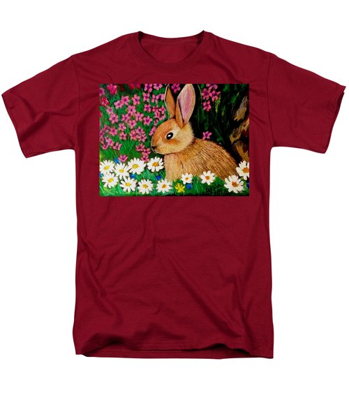 Baby Bunny In The Garden At Night Men's T-Shirt  (Regular Fit) by Renee Michelle Wenker