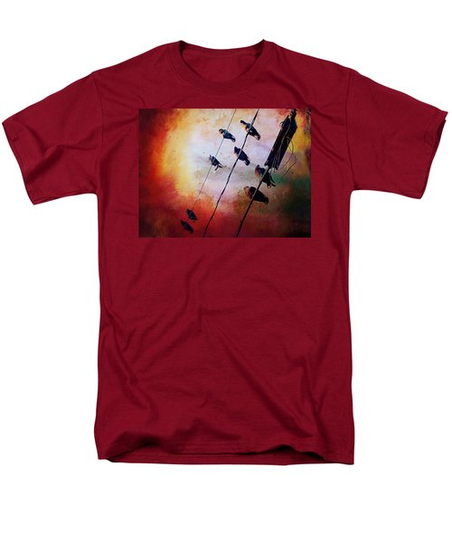 Birds On A Wire Men's T-Shirt  (Regular Fit) by Micki Findlay