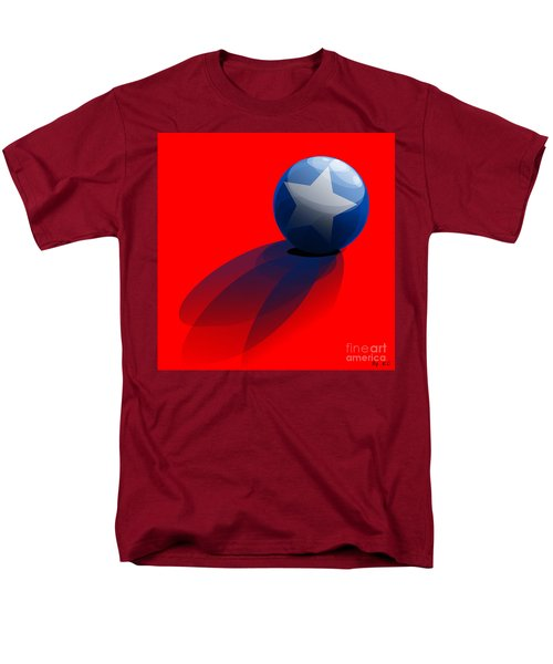 Men's T-Shirt  (Regular Fit) featuring the digital art Blue Ball Decorated With Star Red Background by R Muirhead Art