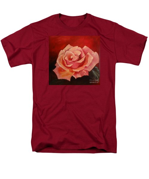 Men's T-Shirt  (Regular Fit) featuring the painting Dew Drops On Pink Rose by Jenny Lee