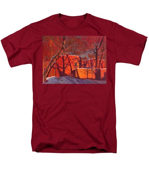 Men's T-Shirt  (Regular Fit) featuring the painting Evening Shadows On A Round Taos House by Art James West
