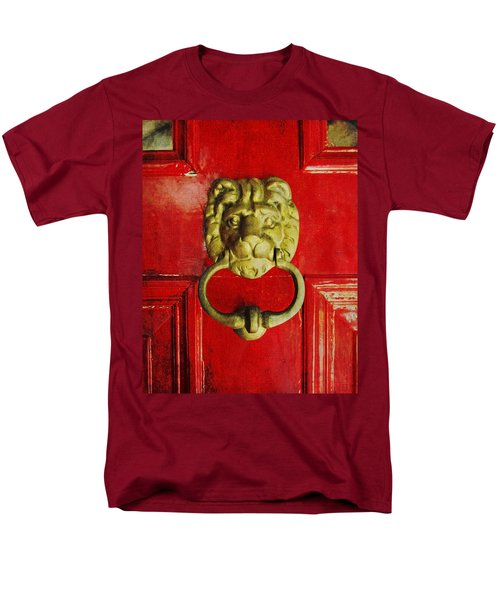 Golden Brass Lion On Red Door Men's T-Shirt  (Regular Fit) by Brooke T Ryan
