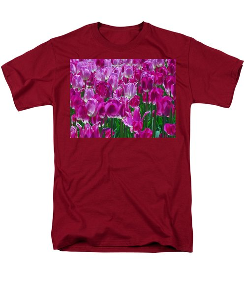 Hot Pink Tulips 3 Men's T-Shirt  (Regular Fit) by Allen Beatty