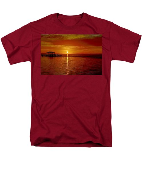 Men's T-Shirt  (Regular Fit) featuring the photograph Mass Migration Of Birds With Colorful Clouds At Sunrise On Santa Rosa Sound by Jeff at JSJ Photography
