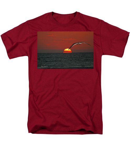 Men's T-Shirt  (Regular Fit) featuring the photograph One Black Skimmers At Sunset by Tom Janca