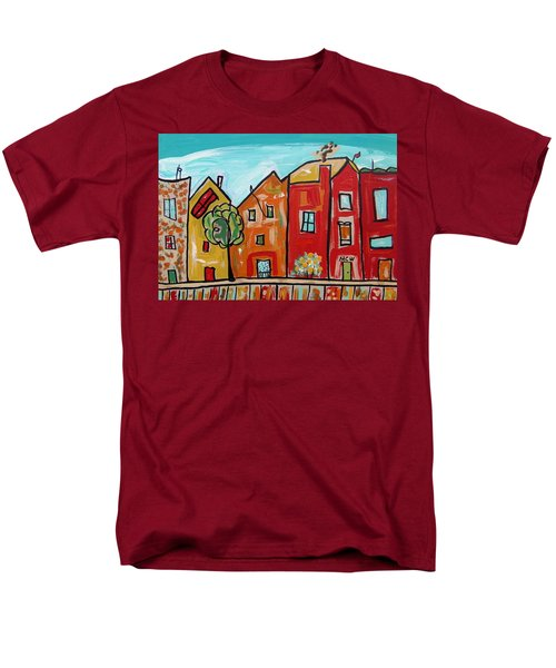 Men's T-Shirt  (Regular Fit) featuring the painting One House Has A Screen Door by Mary Carol Williams