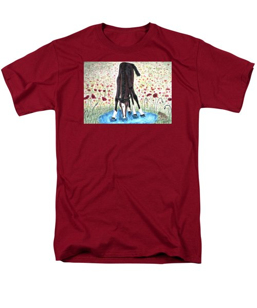 Men's T-Shirt  (Regular Fit) featuring the painting Poppies N  Puddles by Angela Davies
