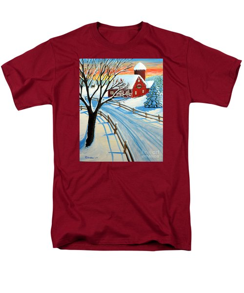 Men's T-Shirt  (Regular Fit) featuring the painting Red Barn In Winter by Patricia L Davidson