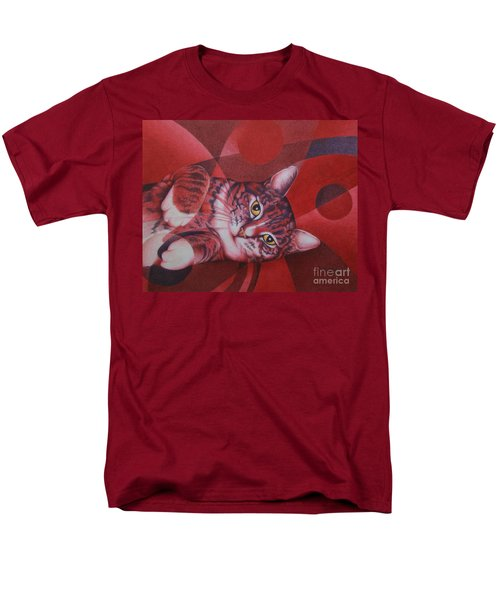 Men's T-Shirt  (Regular Fit) featuring the painting Red Feline Geometry by Pamela Clements