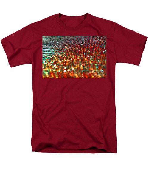 Red Hot Bokeh Bling Men's T-Shirt  (Regular Fit) by Debbie Portwood