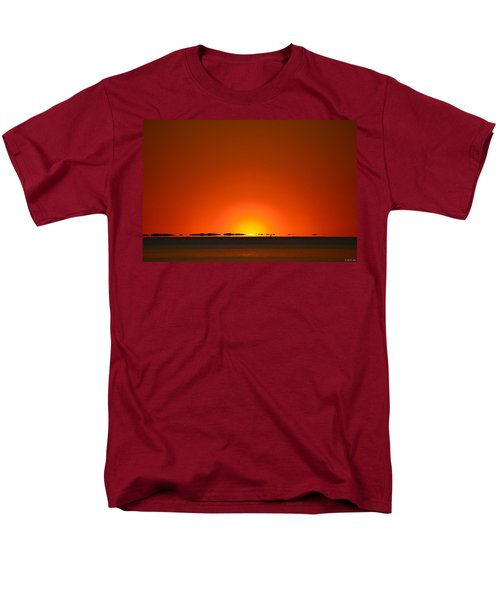 Men's T-Shirt  (Regular Fit) featuring the photograph Red Sunset With Superior Mirage On Santa Rosa Sound by Jeff at JSJ Photography