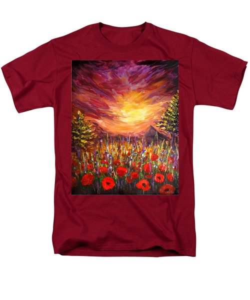 Sunset In Poppy Valley  Men's T-Shirt  (Regular Fit) by Lilia D