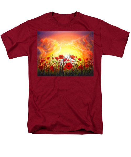 Men's T-Shirt  (Regular Fit) featuring the painting Sunset Poppies by Lilia D
