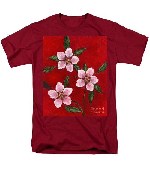 Three Blossoms On Red Men's T-Shirt  (Regular Fit)