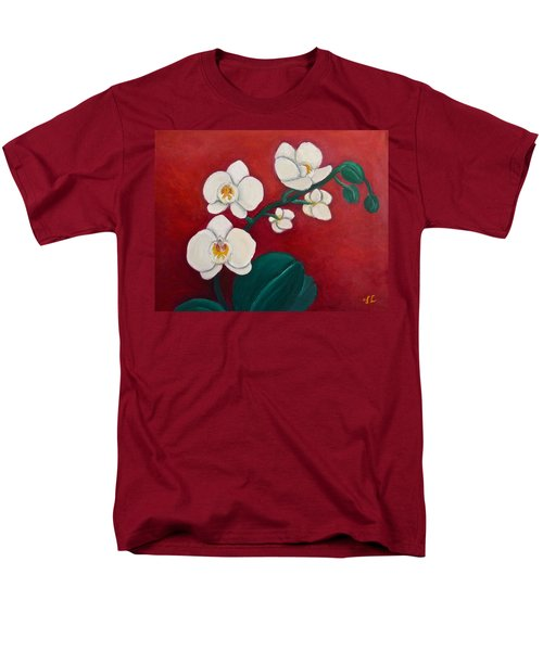 Men's T-Shirt  (Regular Fit) featuring the painting White Orchids by Victoria Lakes