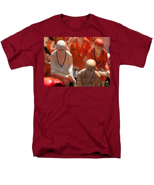 Men's T-Shirt  (Regular Fit) featuring the photograph A Number Of Statues Of The Shirdi Sai Baba For Sale At Surajkund Mela by Ashish Agarwal