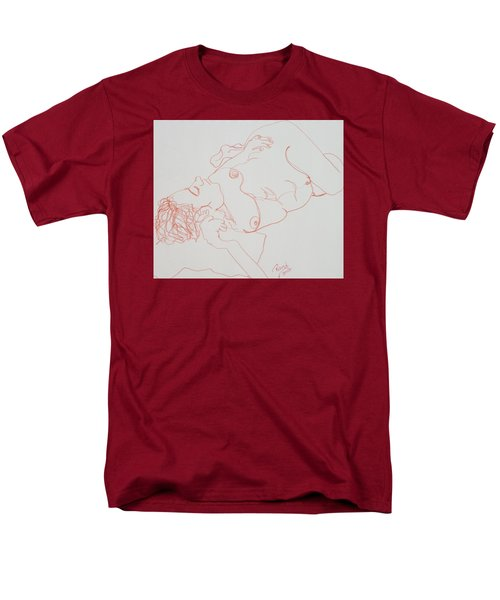 Nude Resting In Red Men's T-Shirt  (Regular Fit) by Rand Swift