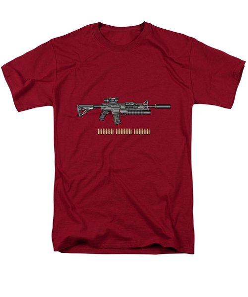 Colt  M 4 A 1  S O P M O D Carbine With 5.56 N A T O Rounds On Red Velvet  Men's T-Shirt  (Regular Fit) by Serge Averbukh