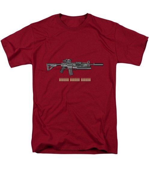 Colt  M 4 A 1  S O P M O D Carbine With 5.56 N A T O Rounds On Red Velvet  Men's T-Shirt  (Regular Fit)