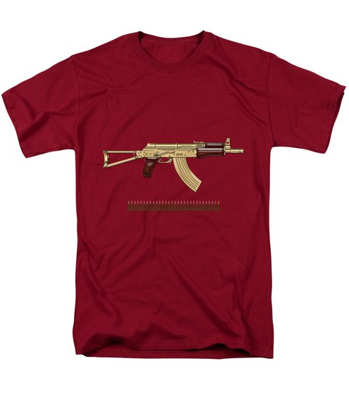 Gold A K S-74 U Assault Rifle With 5.45x39 Rounds Over Red Velvet   Men's T-Shirt  (Regular Fit) by Serge Averbukh