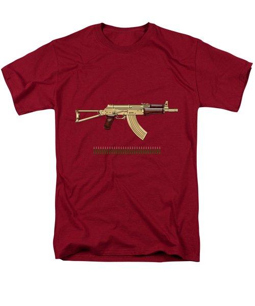 Gold A K S-74 U Assault Rifle With 5.45x39 Rounds Over Red Velvet   Men's T-Shirt  (Regular Fit)