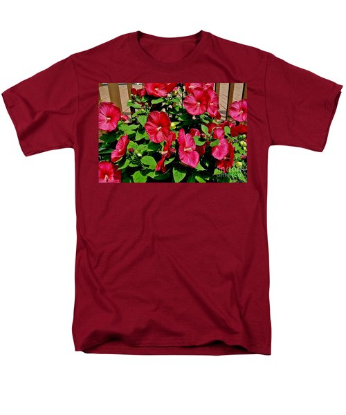 Tropical Red Hibiscus Bush Men's T-Shirt  (Regular Fit) by Marsha Heiken