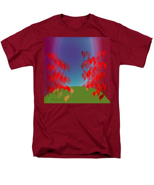 1218 - Red Flowers Men's T-Shirt  (Regular Fit) by Irmgard Schoendorf Welch