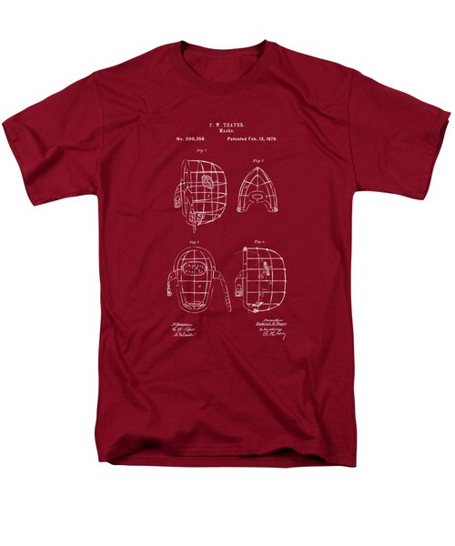 1878 Baseball Catchers Mask Patent - Red Men's T-Shirt  (Regular Fit) by Nikki Marie Smith