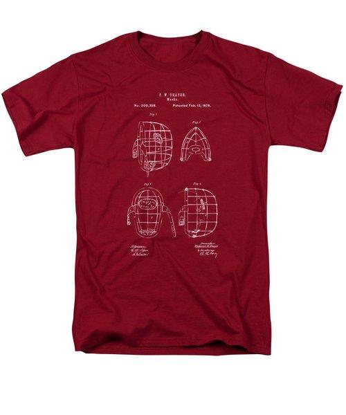 1878 Baseball Catchers Mask Patent - Red Men's T-Shirt  (Regular Fit) by Nikki Marie Smith