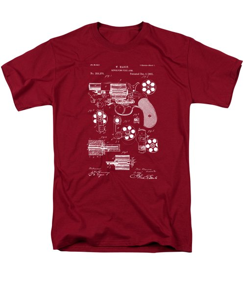 Men's T-Shirt  (Regular Fit) featuring the drawing 1881 Colt Revolving Fire Arm Patent Artwork Red by Nikki Marie Smith