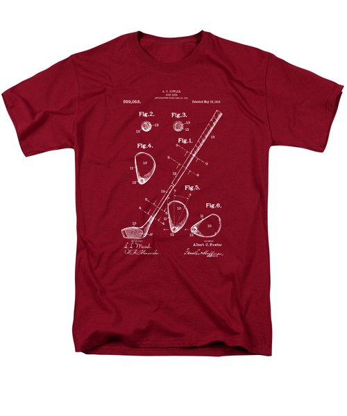 Men's T-Shirt  (Regular Fit) featuring the drawing 1910 Golf Club Patent Artwork Red by Nikki Marie Smith
