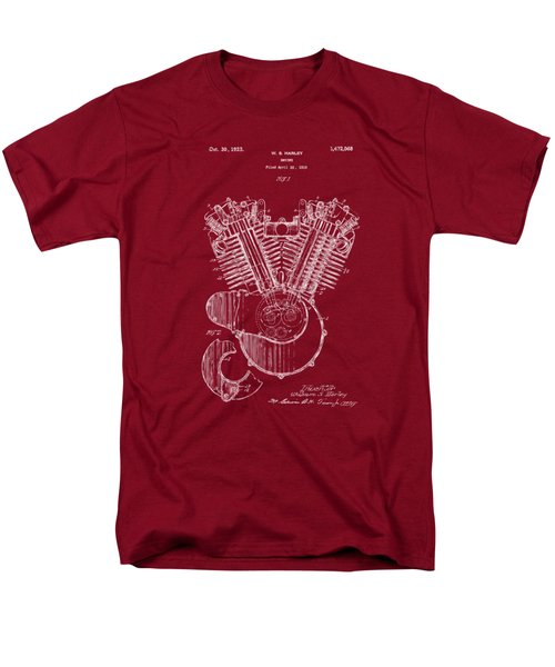 Men's T-Shirt  (Regular Fit) featuring the digital art 1923 Harley Engine Patent Art Red by Nikki Marie Smith